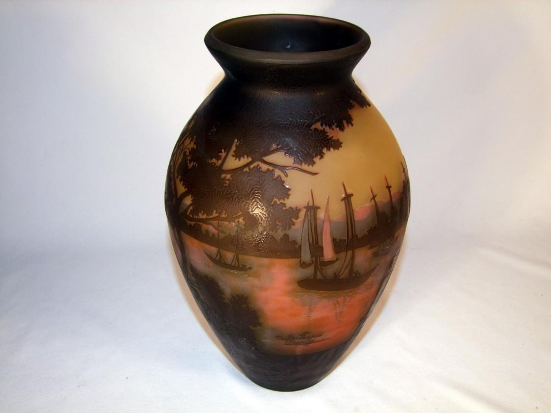 22:  Carved Panoramic Cameo Vase Signed Mueller