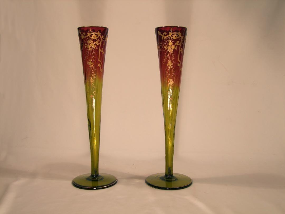 "24: Pair Of  16"" Decorated Amberina Vases"