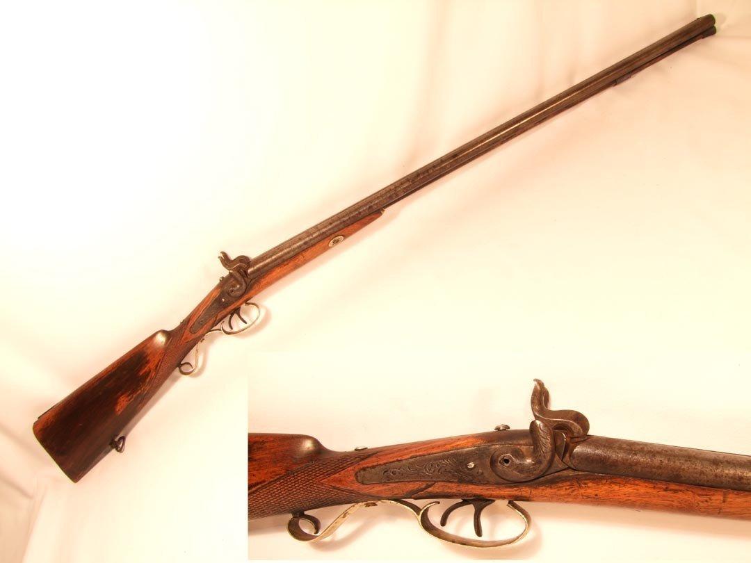 78: 1860s Double Barrel Cap And Ball Shotgun