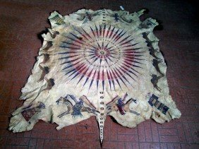 Rare Northern Plains Indian Painted Buffalo Robe