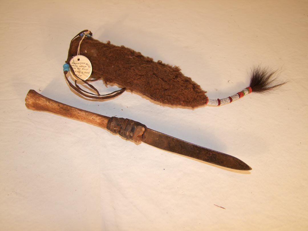 112: Buffalo Hide Knife Sheath With Old Knife