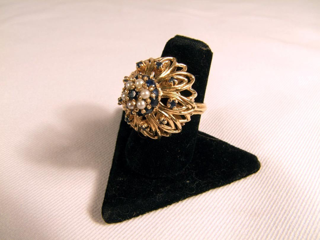 124: Ladies Gold Dome Ring With Pearls And Sapphires