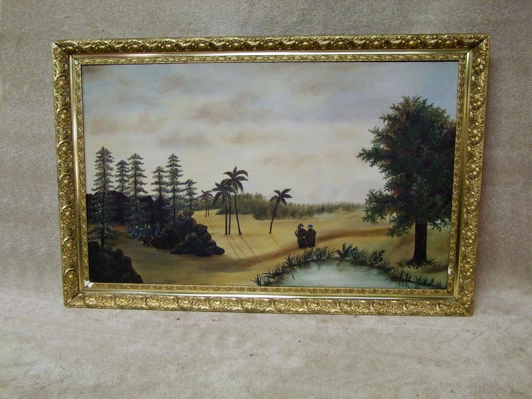 131: Framed Primitive Oil Painting