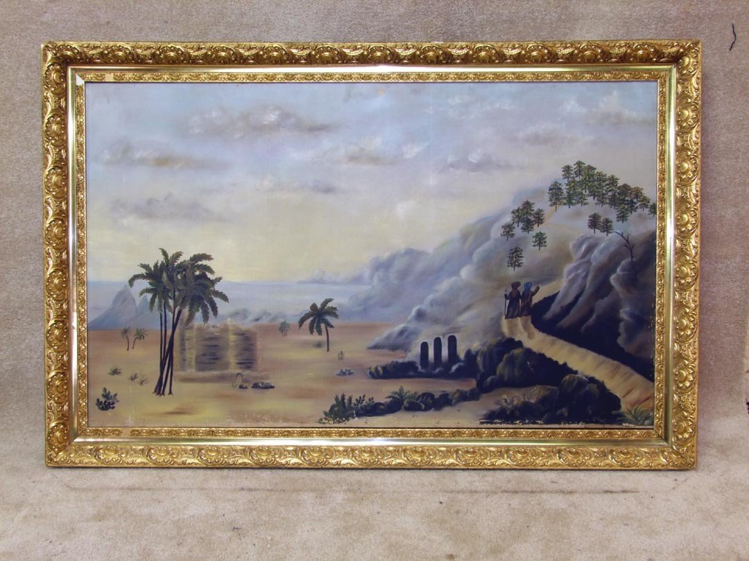 132: Framed Primitive Oil Painting Companion To Lot 131