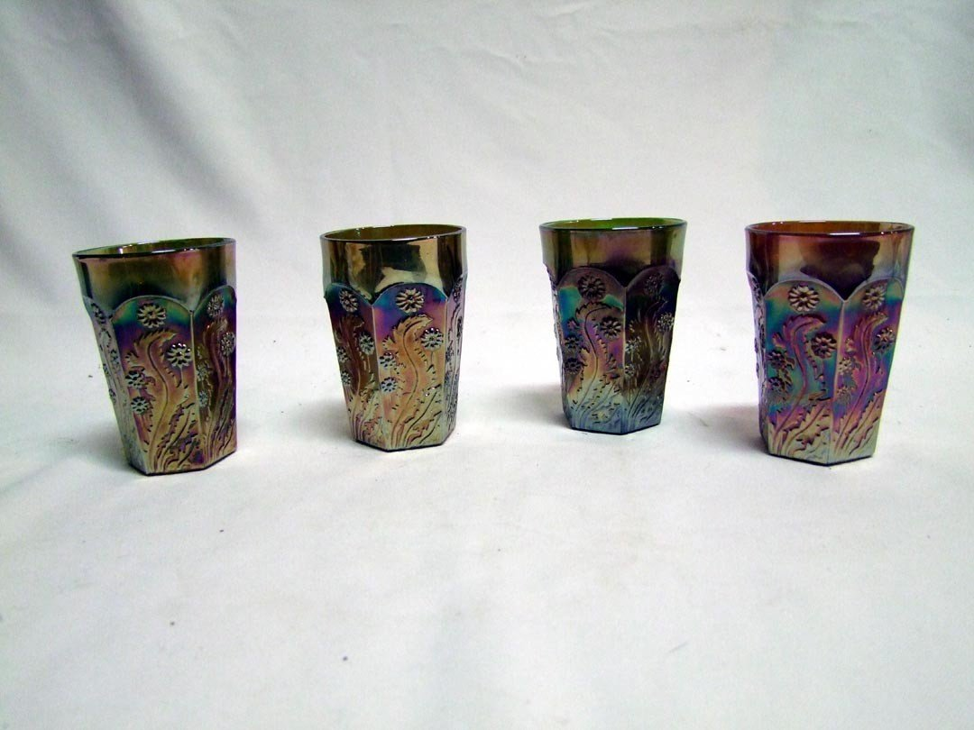 135: Four Tumblers In Paneled Dandelion Pattern