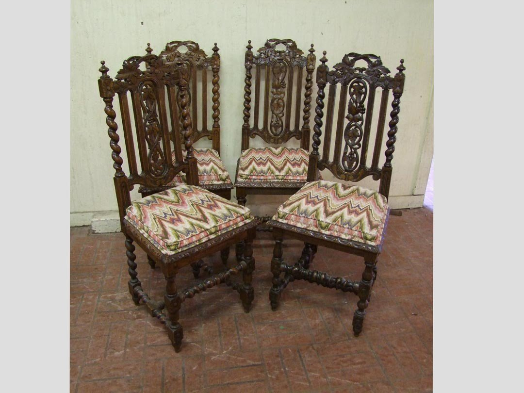 242: Set Of Five Carved Oak Side Chairs