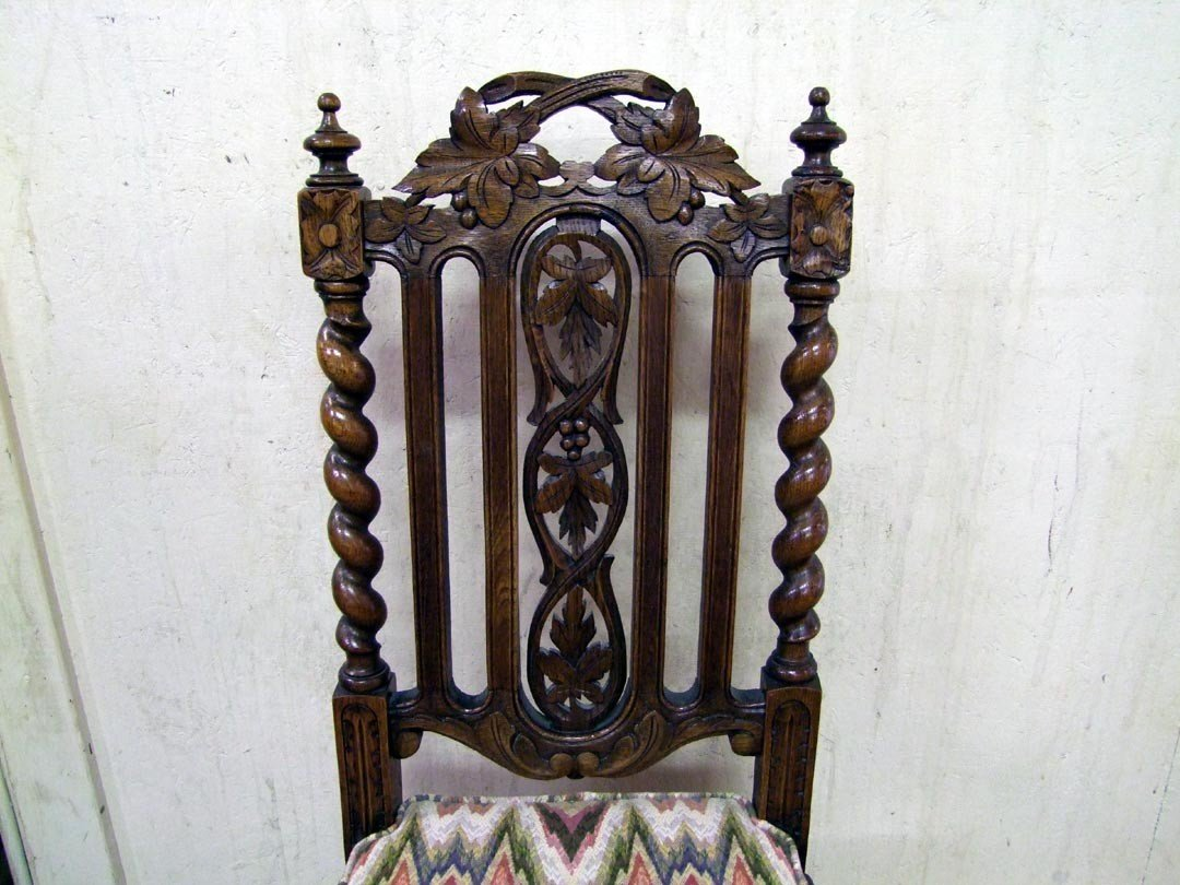 242: Set Of Five Carved Oak Side Chairs - 3