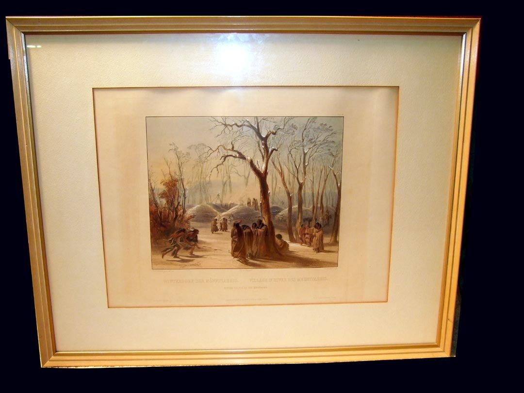 "7: Karl Bodmer 1841 Aquatint ""Winter Village Of The Min"