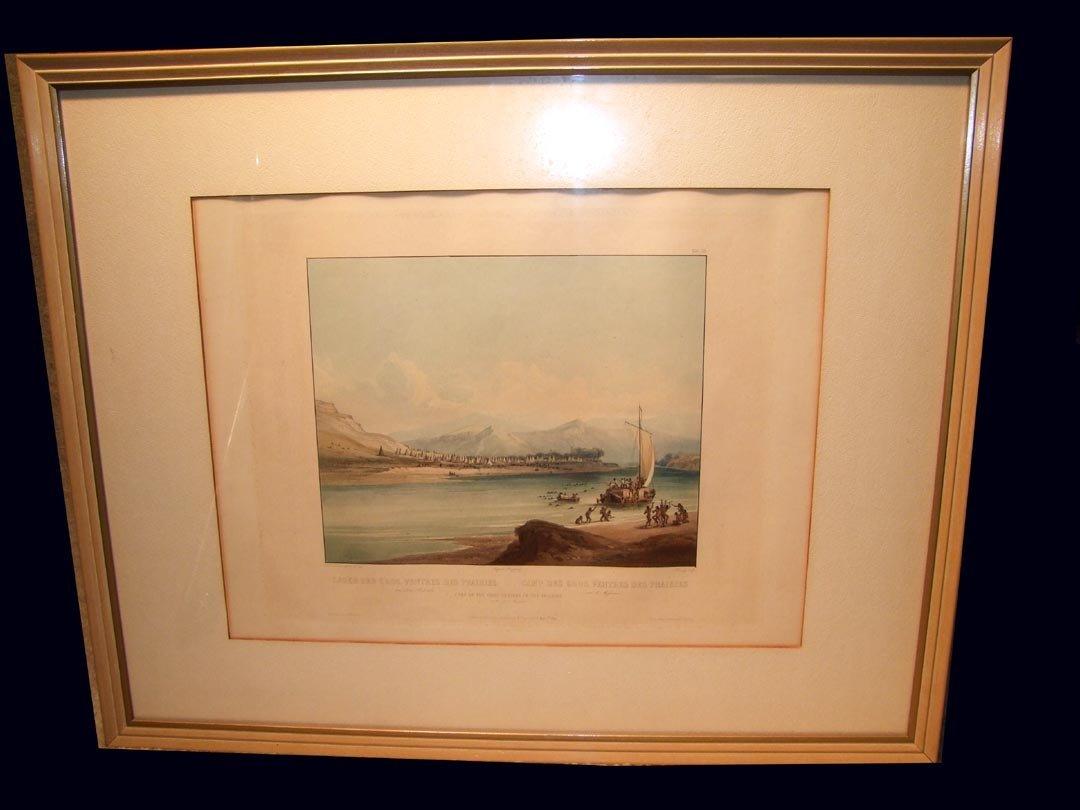 "8: Karl Bodmer 1841 Aquatint "" Camp Of The Gros Ventres"