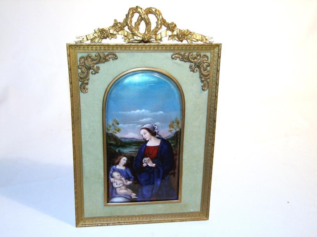 11: French Enamel On Copper Framed Painting