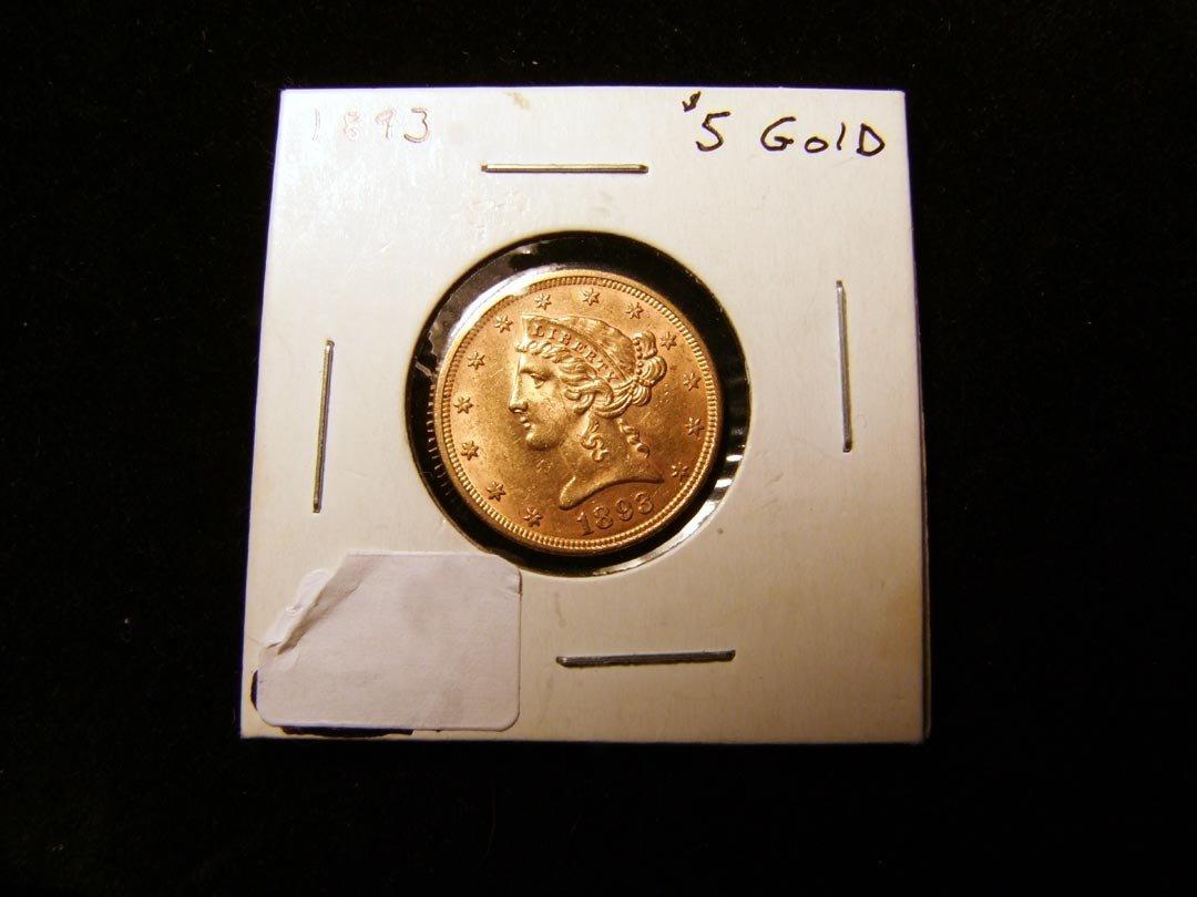 16: 1893 Gold Five Dollar Coin