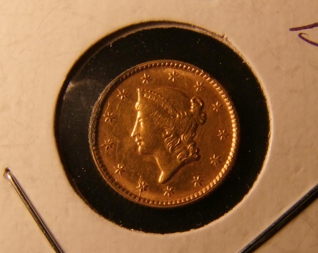 17: 1853 One Dollar Gold Coin Type 2