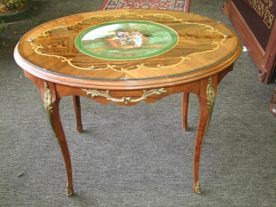 14: 1940s Tea Table With Porcelain Plaque