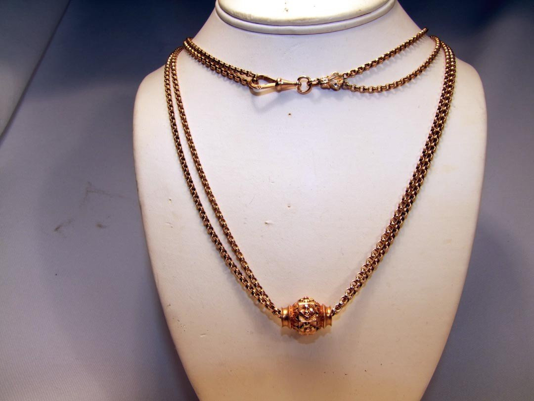 18A: 14K Yellow Gold Watch Chain With Slide