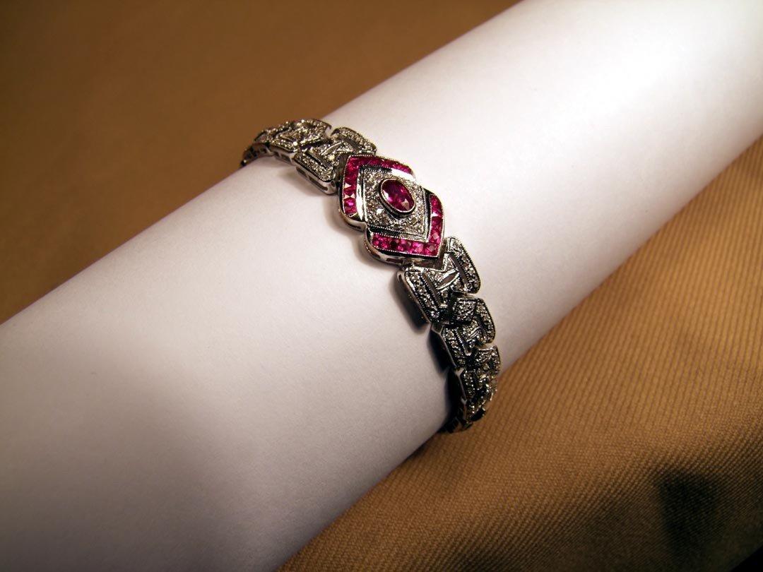 19A: 14K White Gold Diamond And Ruby Bracelet