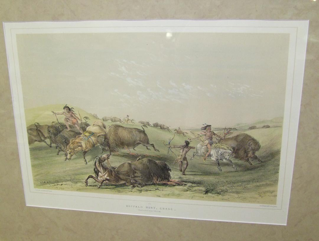 """21: """" Buffalo Hunt, Chase"""", By George Catlin"""