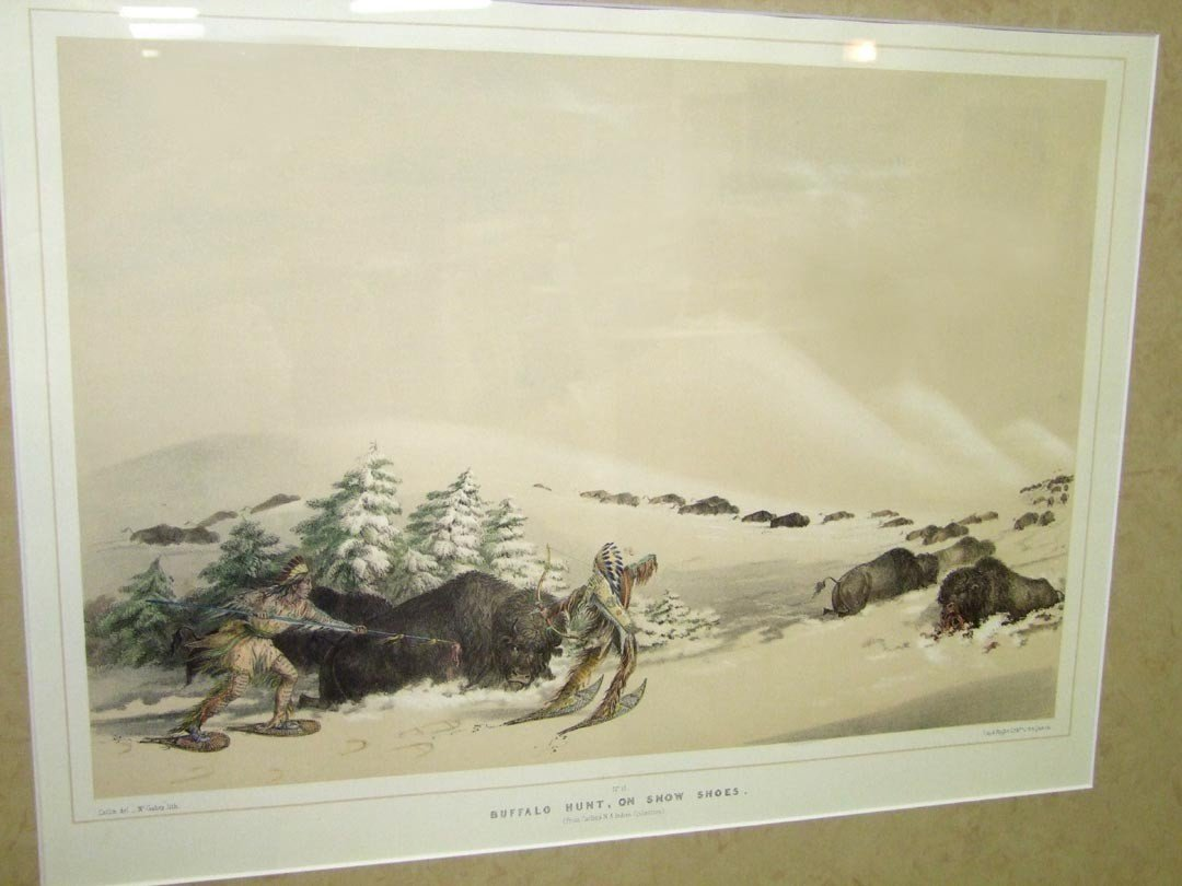 """22: """" Buffalo Hunt, On Snow Shoes"""" by George Catlin"""