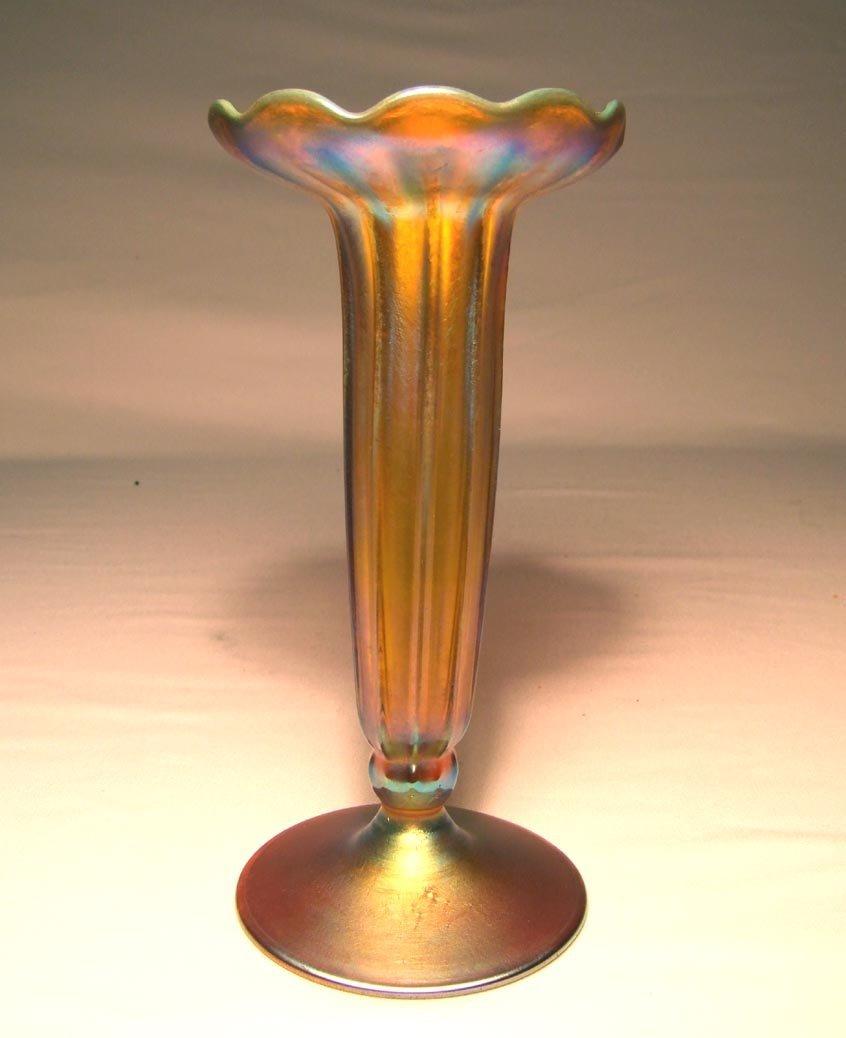 "5: 8 1/2"" Footed Tiffany Vase"