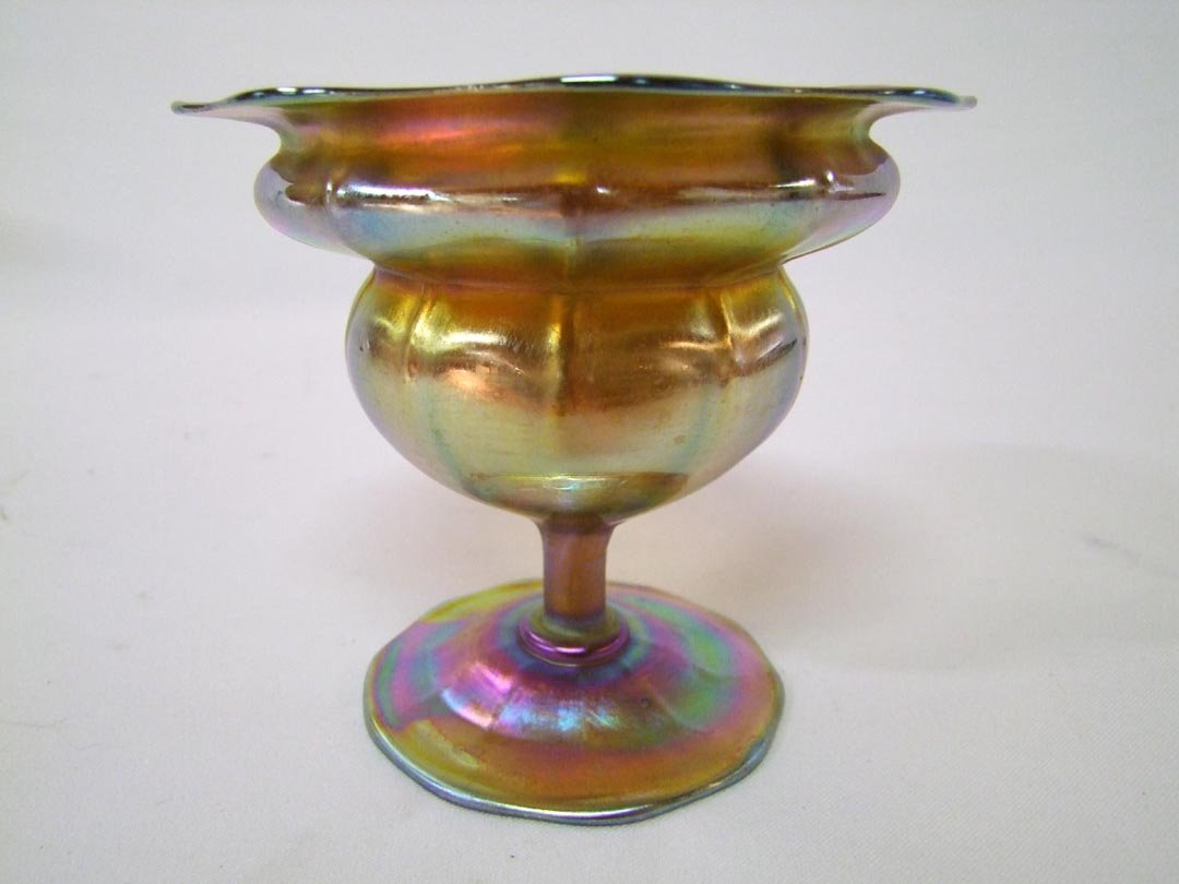14: Tiffany Gold Flower Form Compote