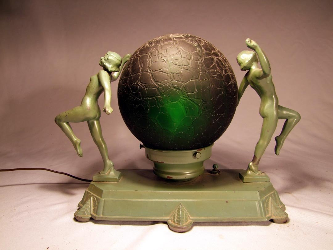59: Unsigned Frankart Lamp With Nudes