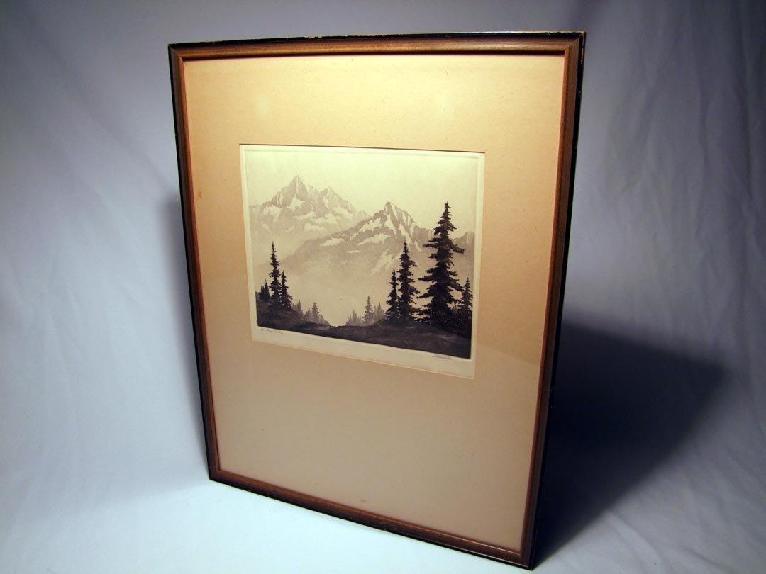 """63: Harold Lukens Doolittle Engraving """"Western Peaks"""""""