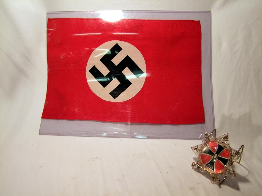 64: Nazi Flag And 1939 Paperweight, Sold As Lot