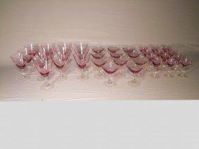 Wistaria Pink #17477 Stemware By Tiffin 38 Pieces