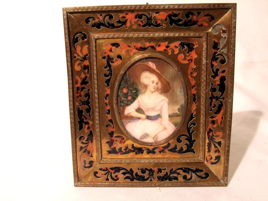2: Miniature Ivory Portrait In Boulle Frame