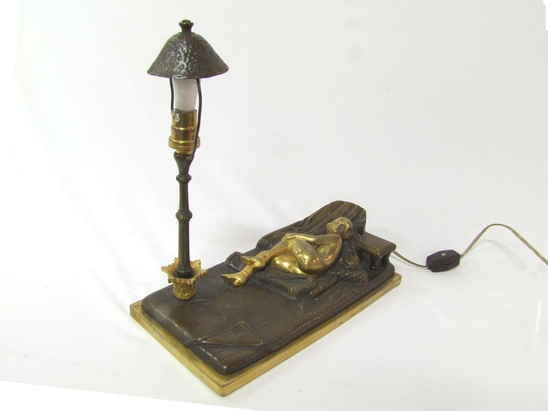 6: Austrian Bronze Lamp With Nude
