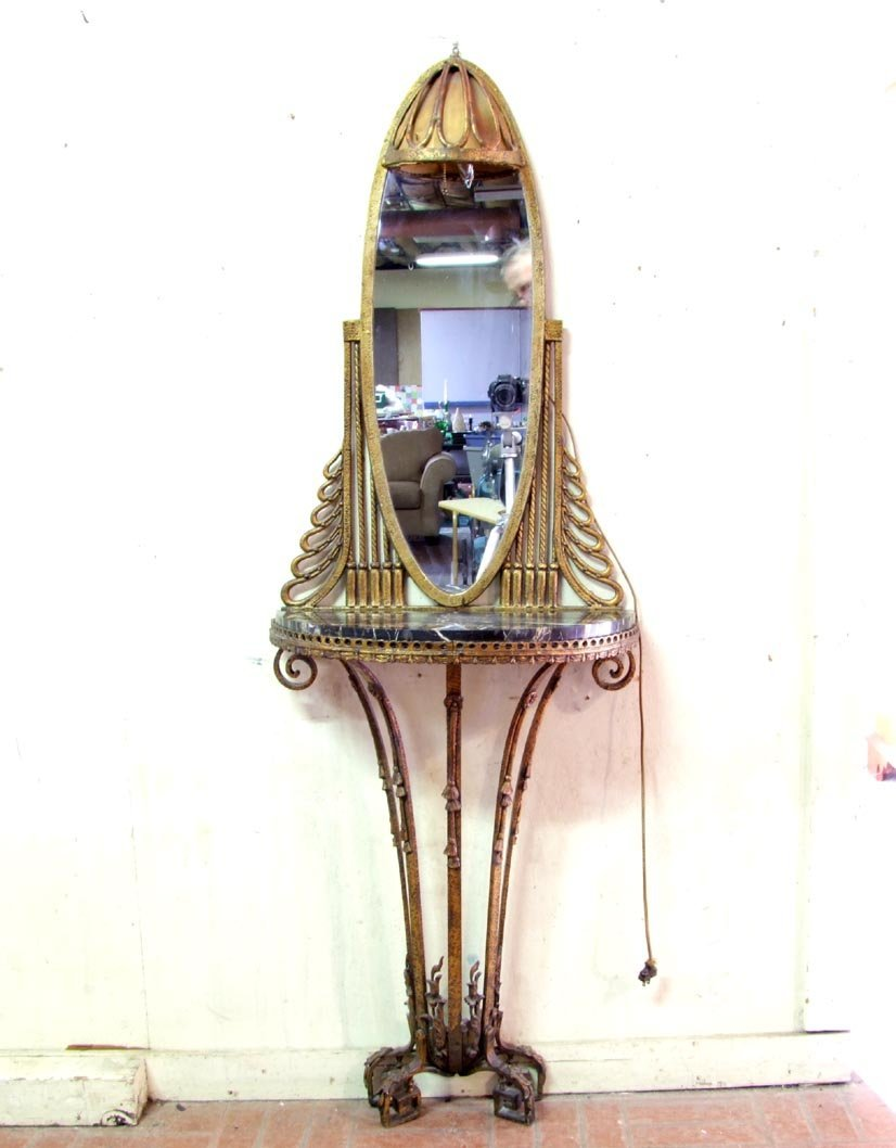 14: Art Deco Iron Console With Mirror