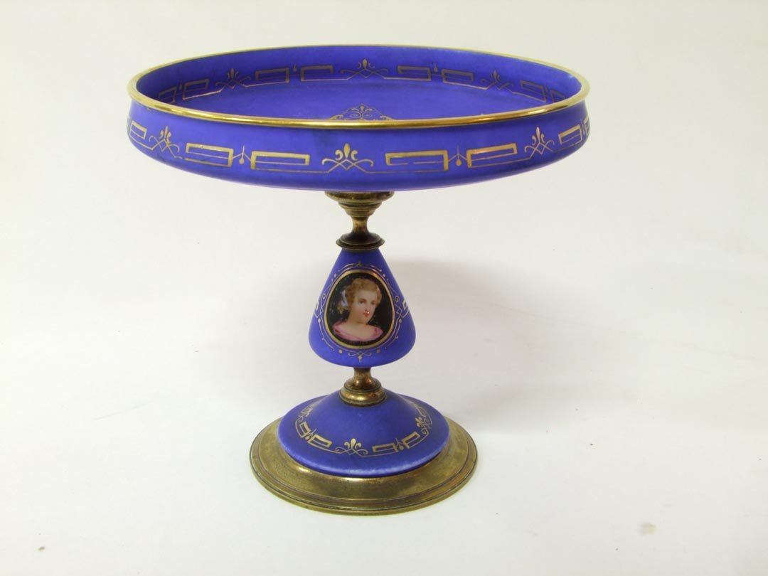 16: French Porcelain And Bronze Compote