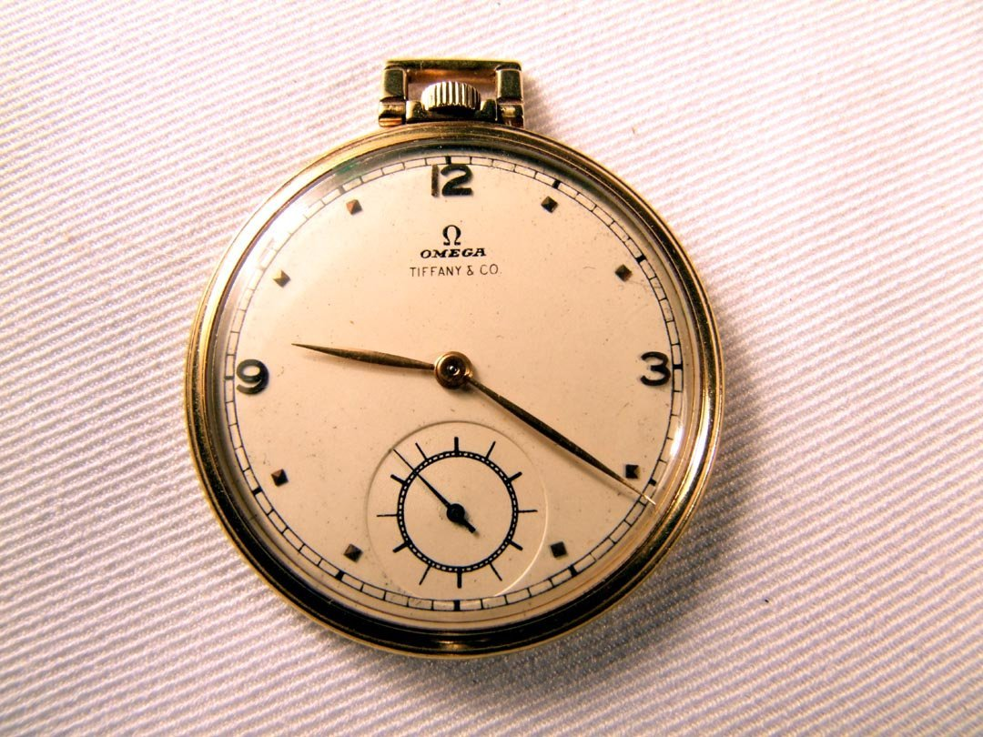 44: 14K Omega Tiffany Pocket Watch