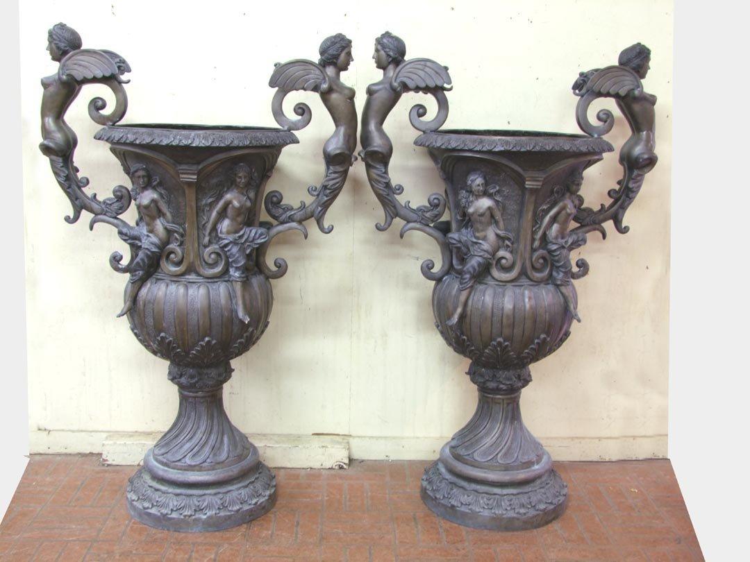 23: Sculptural Pair Of Bronze Garden Urns