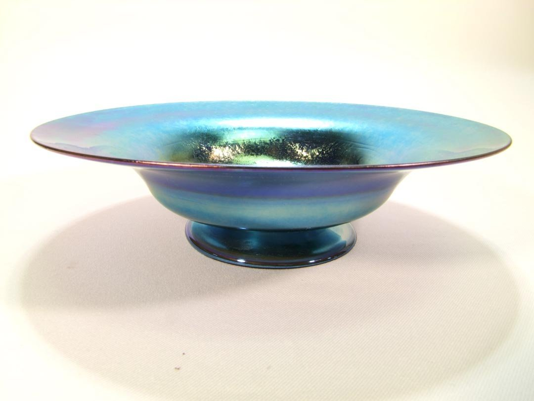 Tiffany Blue Iridescent Footed Bowl