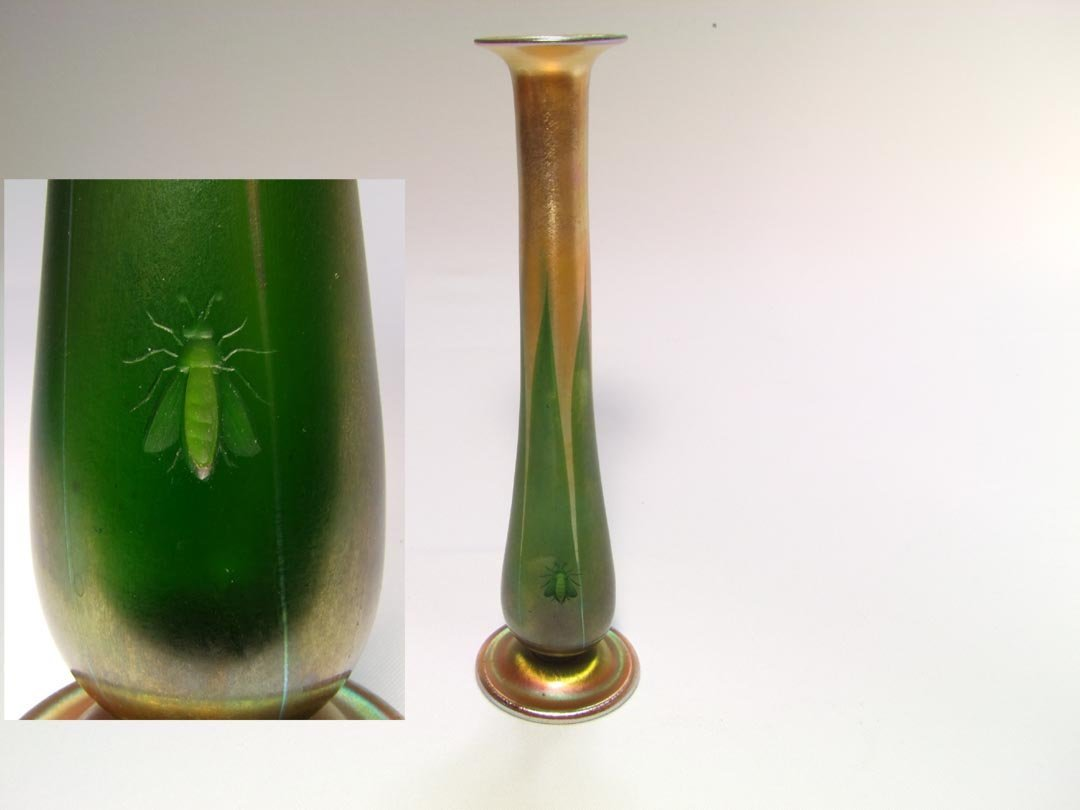 Decorated Tiffany Vase With Bee