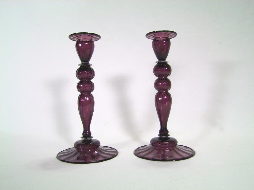 Pair Steuben Amethyst Candle Sticks