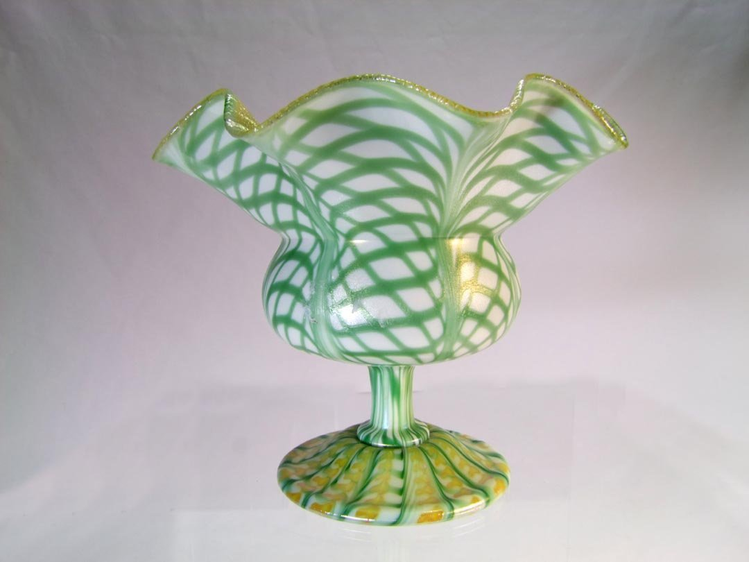 Quezal Flower Form Footed Vase