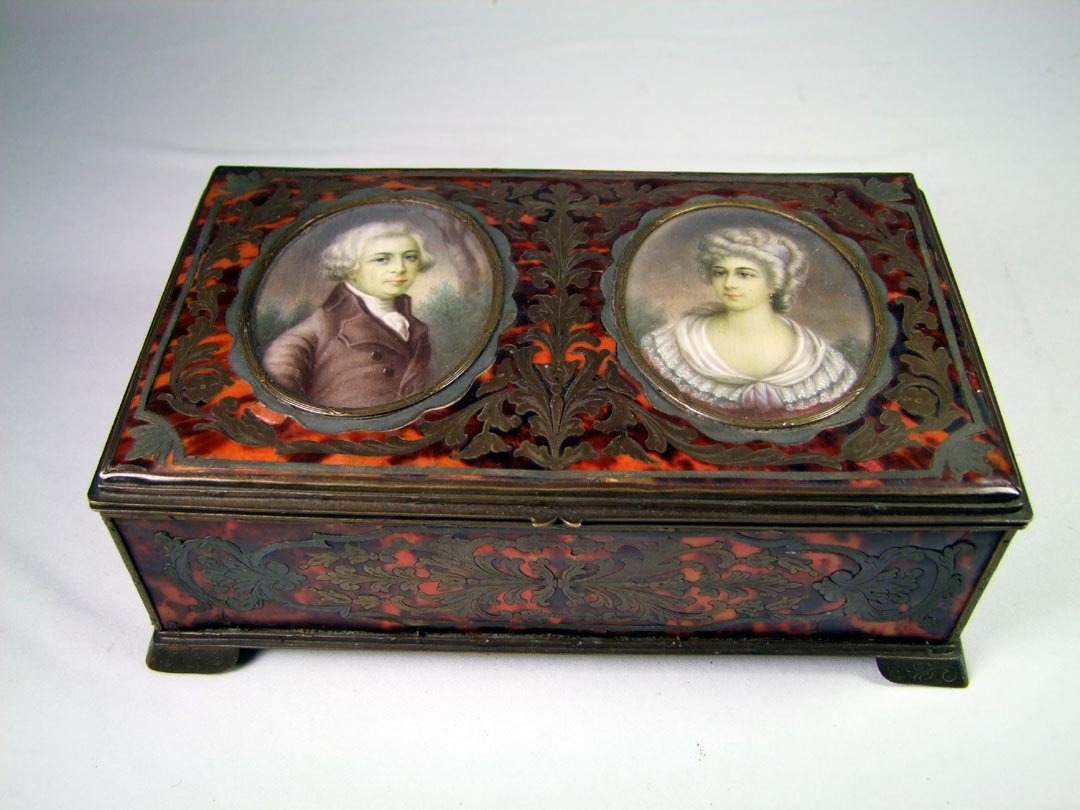 19th Century Boulle Box With Portraits.