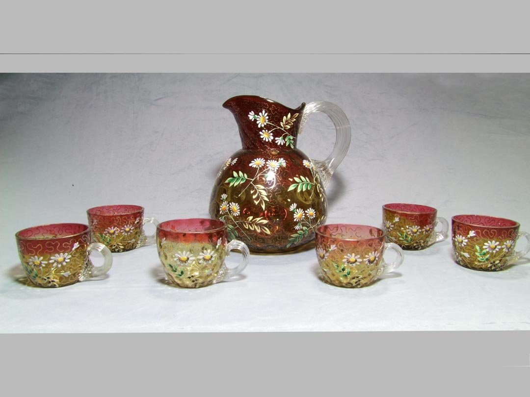 Webb Amberina Pitcher And Cups