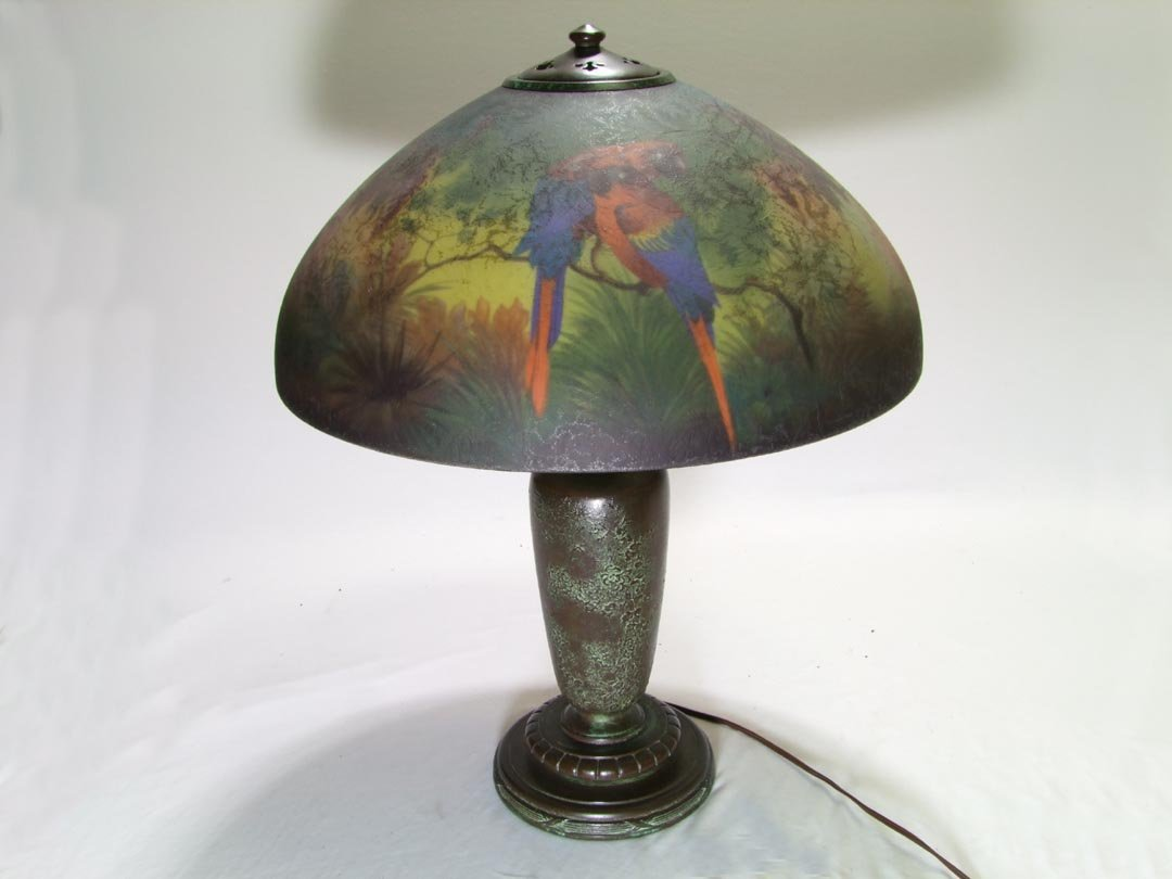 Handel 6874 Reverse Painted Jungle Bird Table Lamp