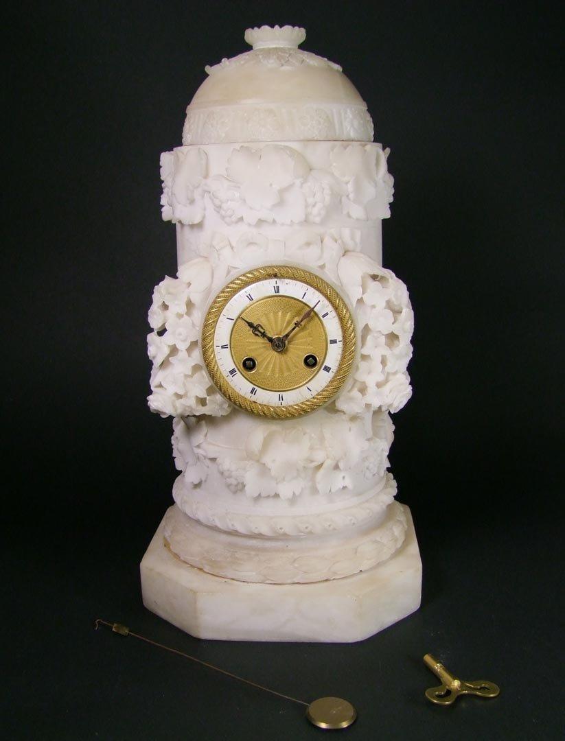 Carved Alabaster Clock