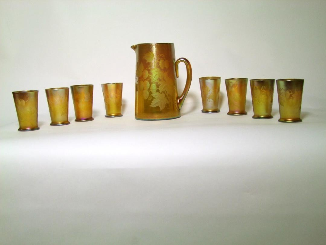 Tiffany Pitcher And 8 Tumblers
