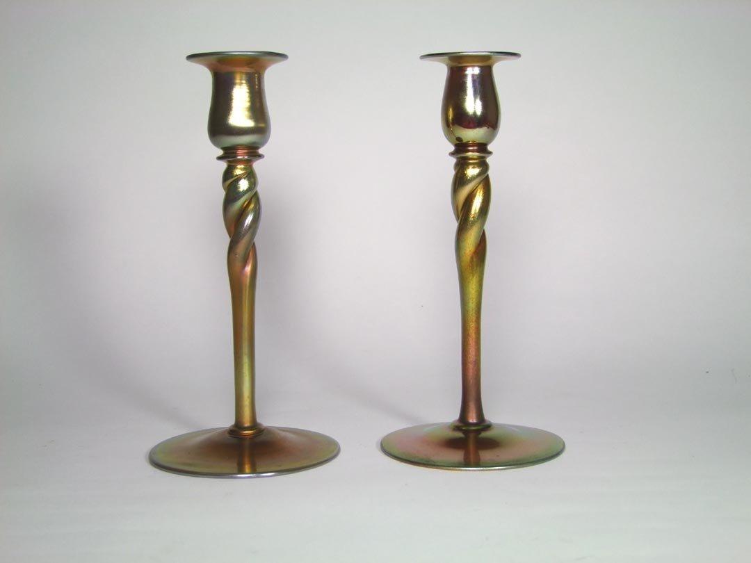 """Pair Of 10"""" Steuben Candlesticks"""