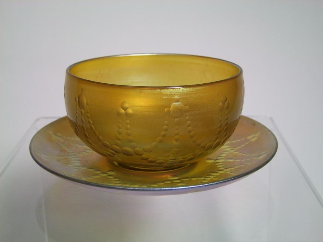 Intaglio Cut Tiffany Bowl And Underplate