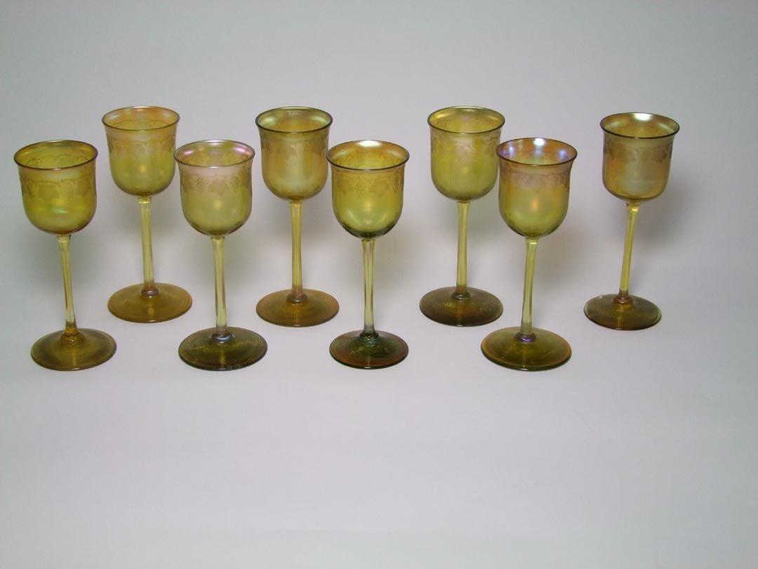 Eight Intaglio Cut Tiffany Tall Cordials