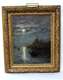 Venice Night Scene Oil On Canvas