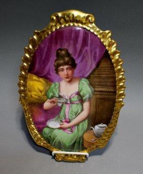 E. Furloudy Painting On Porcelain Plaque