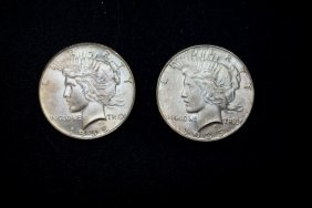 Two 1935 Peace Dollars