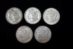 Five 1921 Morgan Dollars