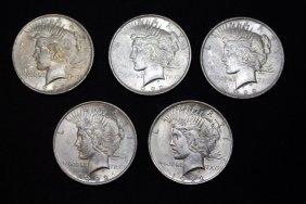 Five 1922 Peace Dollars